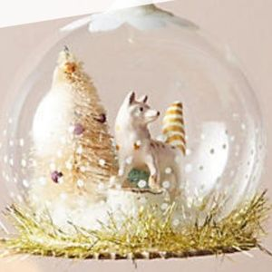 Anthropologie Snowglobe Habitat Pink Fox Ornament